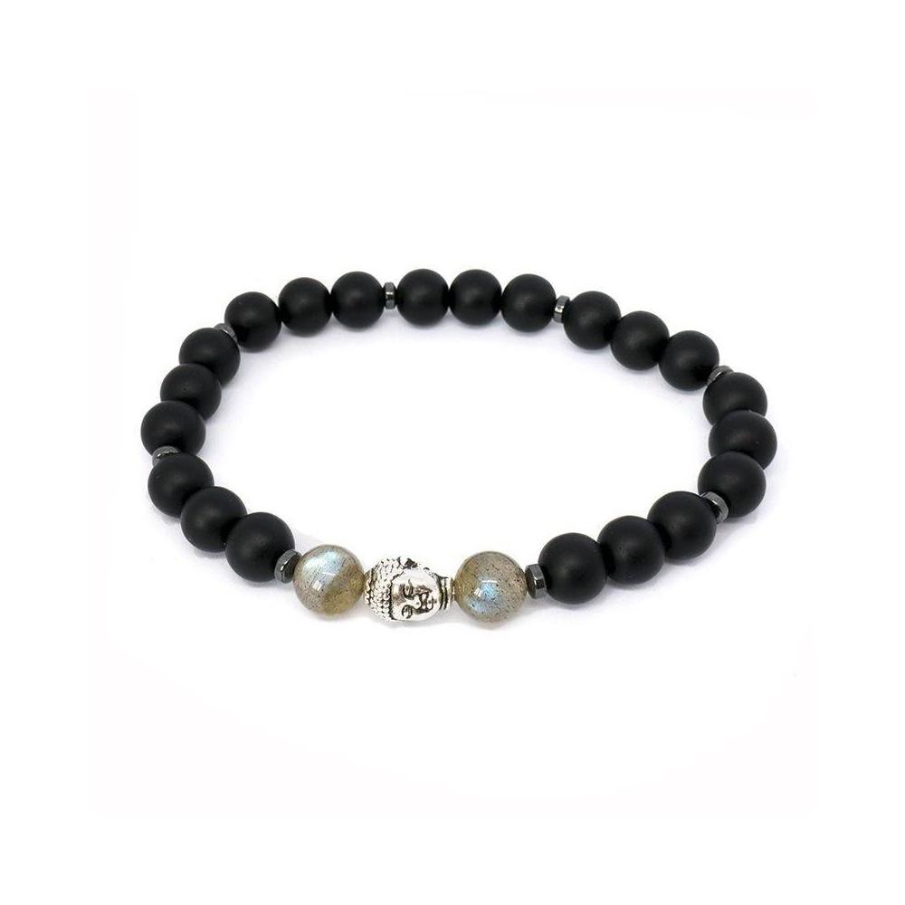 Bracelet de perles BUDDHA Labradorite et onyx mat