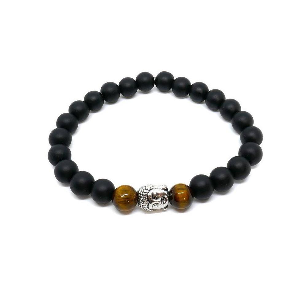 Bracelet de perles  BUDDHA tigre en œil de tigre doré et onyx noir mat