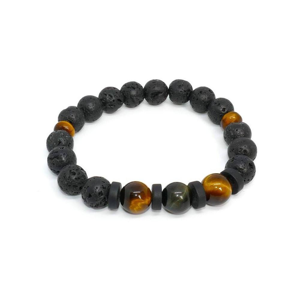 Bracelet de perles BOOBA pierre de lave, œil de tigre et pierre du brésil