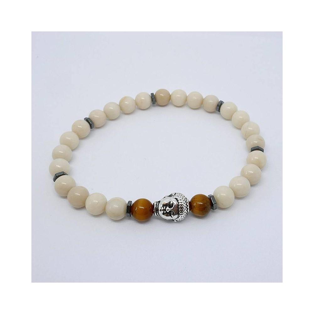 Bracelet de perles BUDDHA Blanc œil de tigre