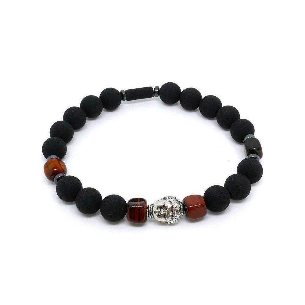 Bracelet de perles BUDDHA œil de taureau et pierre de lave