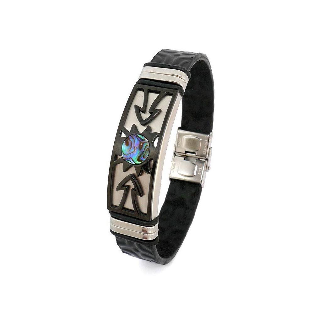 Bracelet  en cuir pour homme TIKI  Bracelet Noir Acier Noir