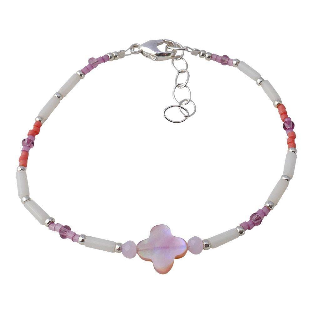 Bracelet trèfle en nacre rose et corail blanc.