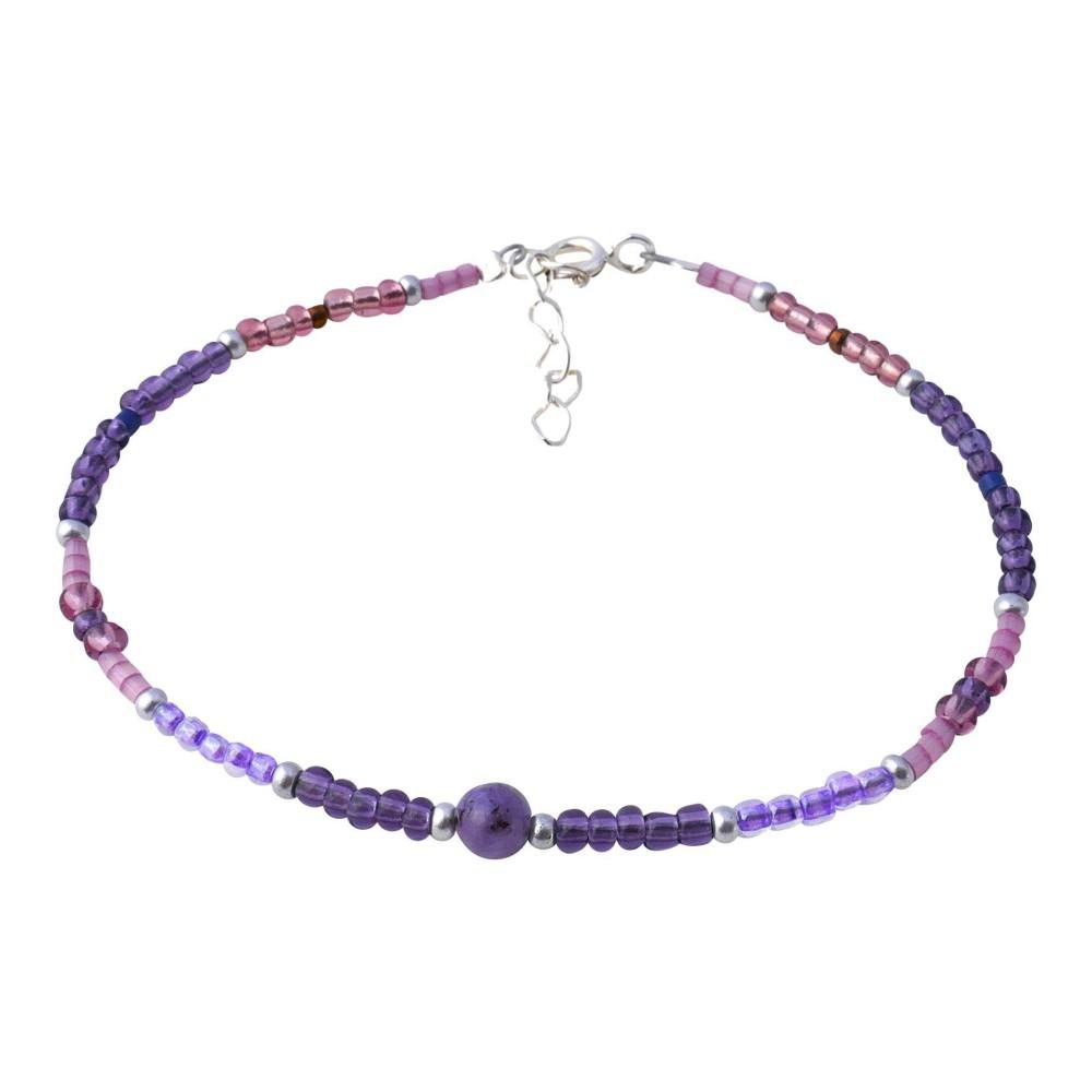 Bracelet fin pour femme violet. Argent 925