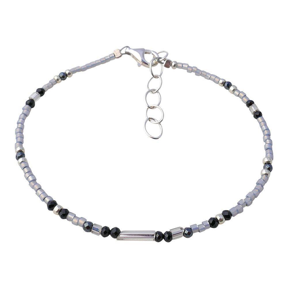 Bracelet gris en argent et spinelle noir