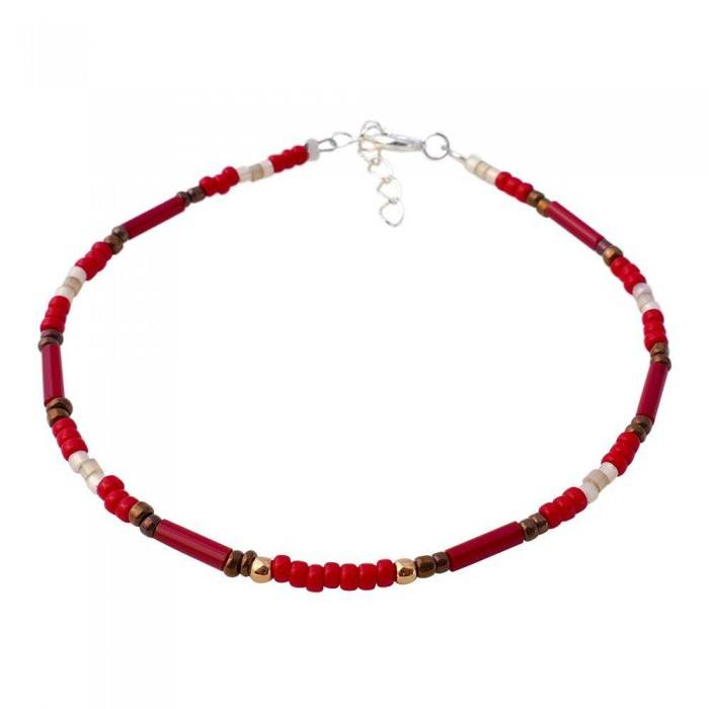 Bracelet fin rouge. Argent 925