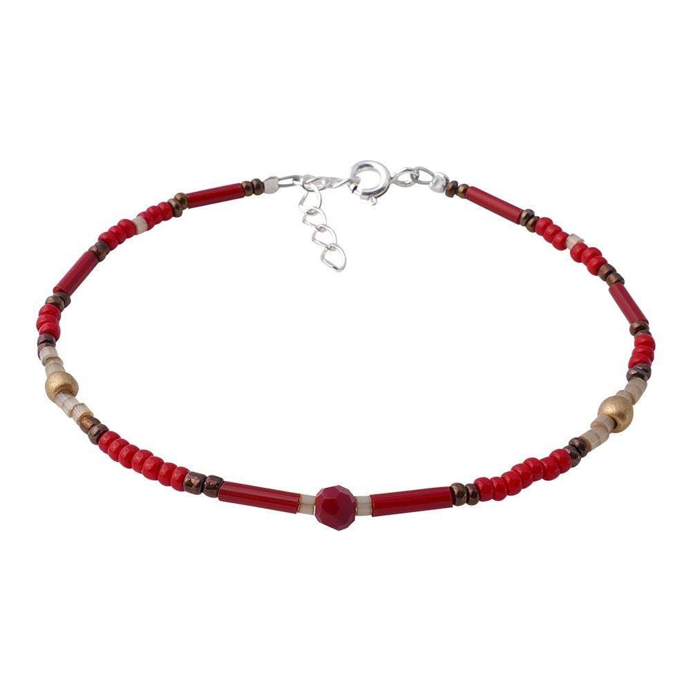 Bracelet fin pour femme rouge corail. Argent 925
