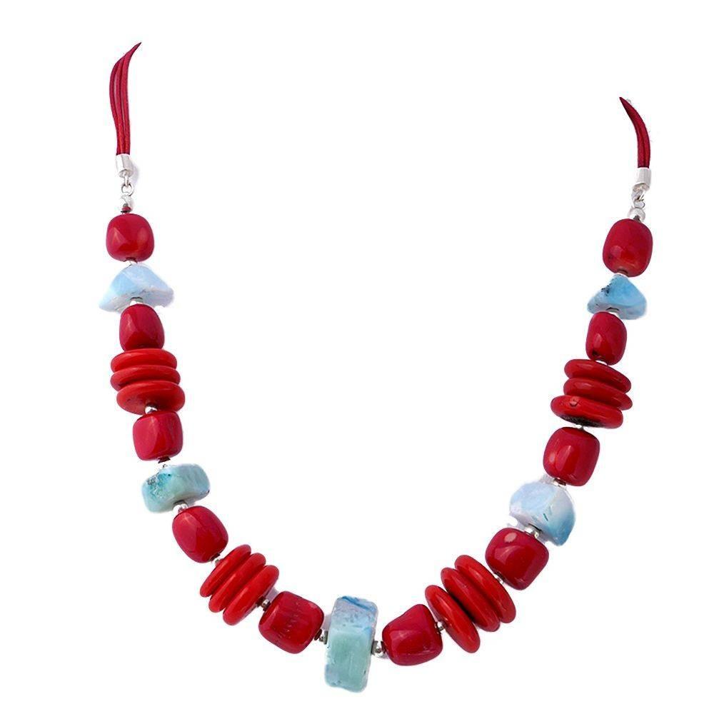 Carriacou: collier en larimar et corail rouge. Argent 925