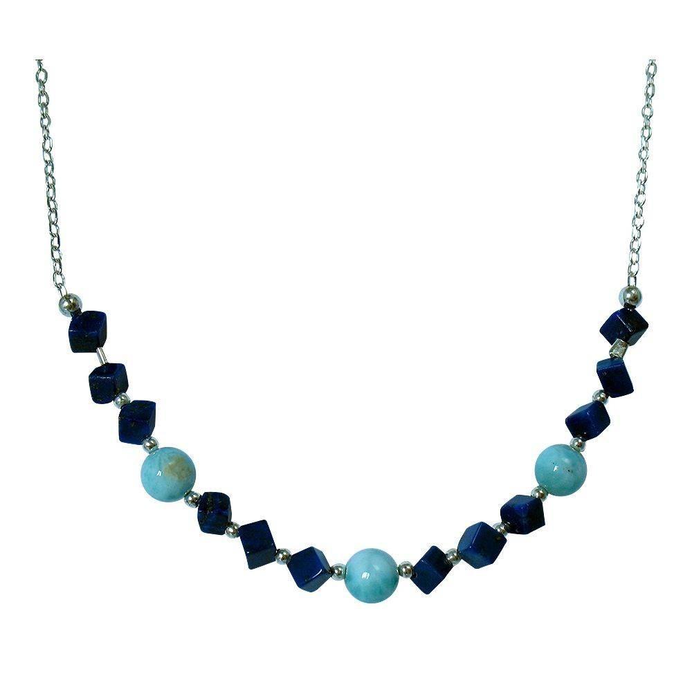 Frégate: collier en larimar et Lapis lazuli. Argent 925