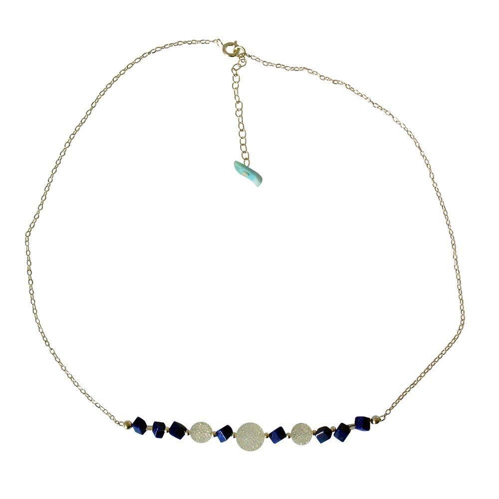 Naha: collier en lapis lazuli et cristal du japon. Argent 925
