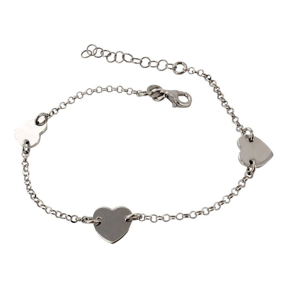 Bracelet cœur en argent massif