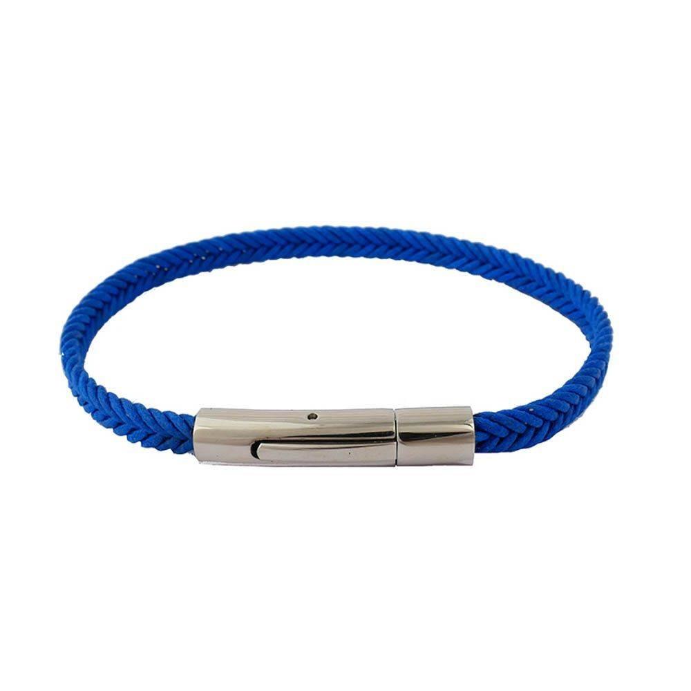 Bracelet pour homme Nautic en coton ciré. Couleur bleue