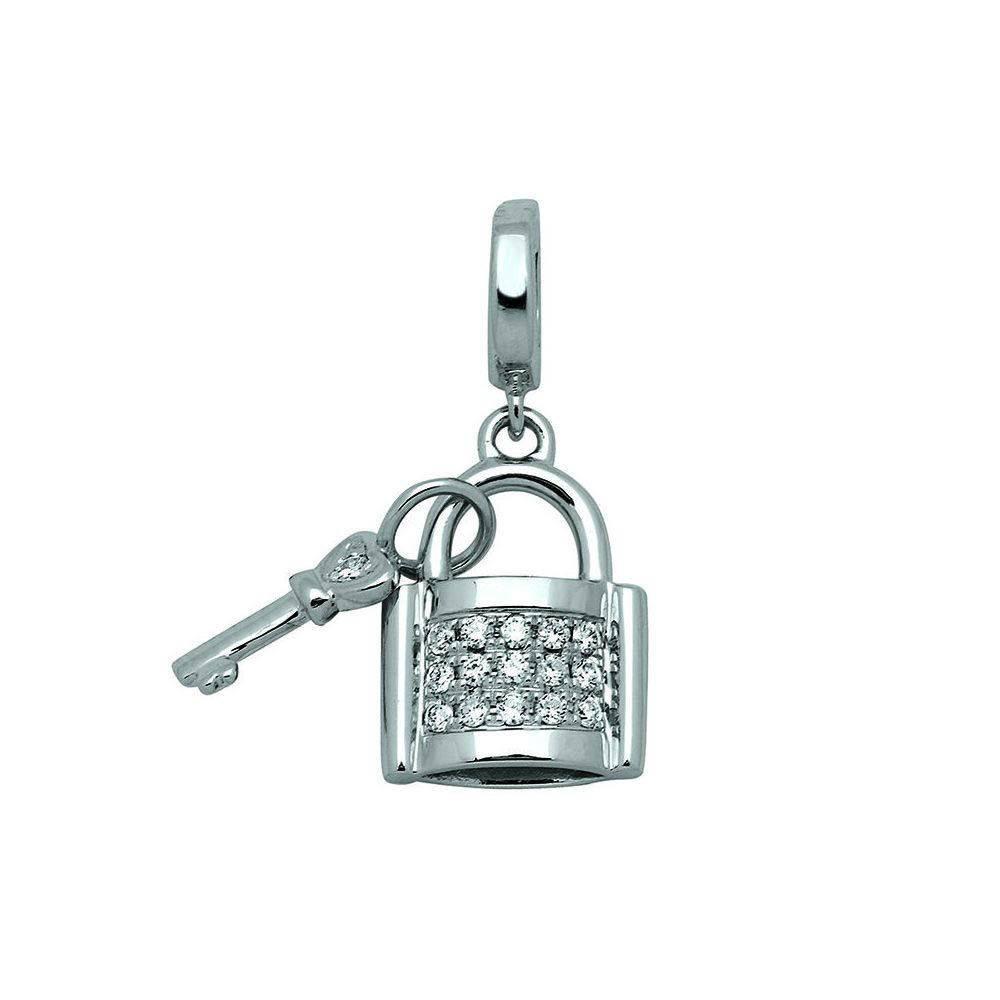 Pendentif OR blanc 750 et diamants Cadenas avec clé