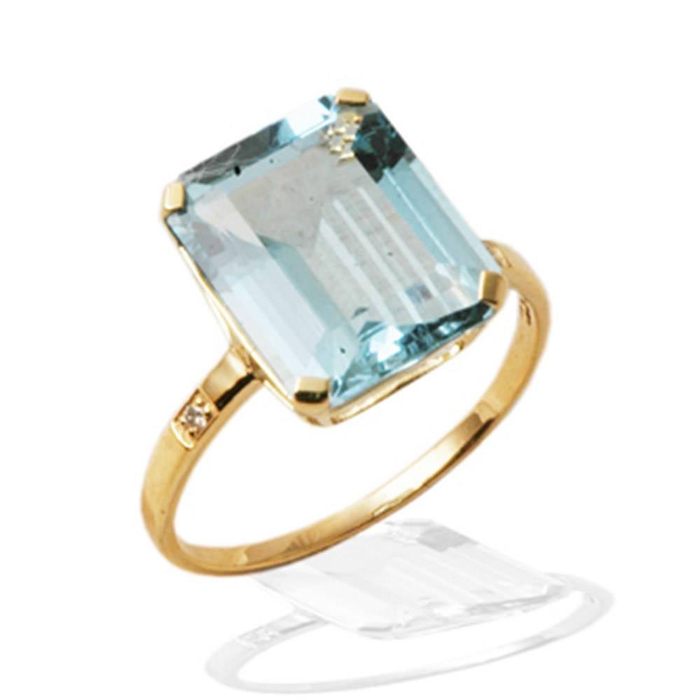 Bague Hélène topaze bleue et diamants Or 750