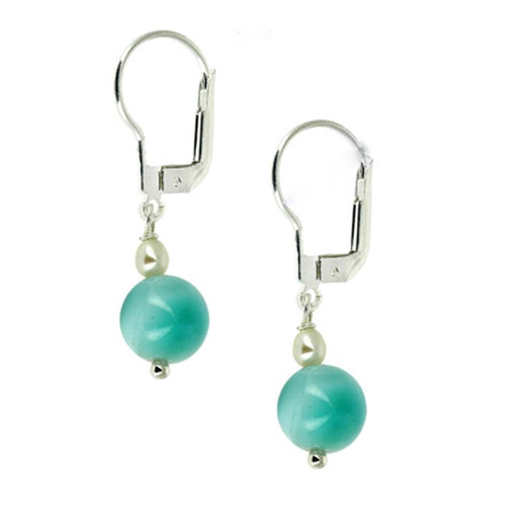 Elegante : Boucles d'oreilles en larimar, perle et argent