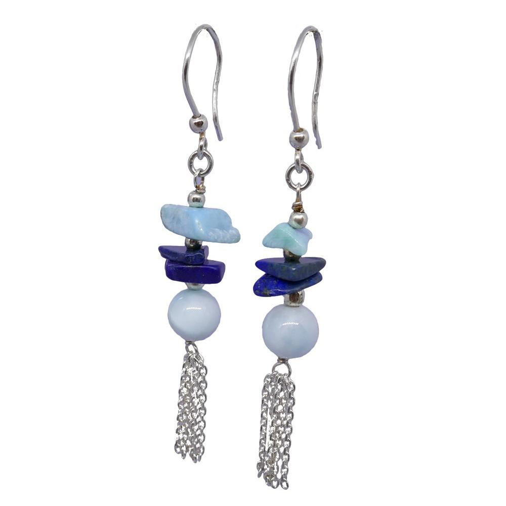 Pompon Boucles d'oreilles larimar et lapis lazuli