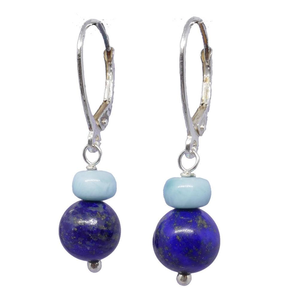 Boucles d'oreilles lapis lazuli et larimar Margarita