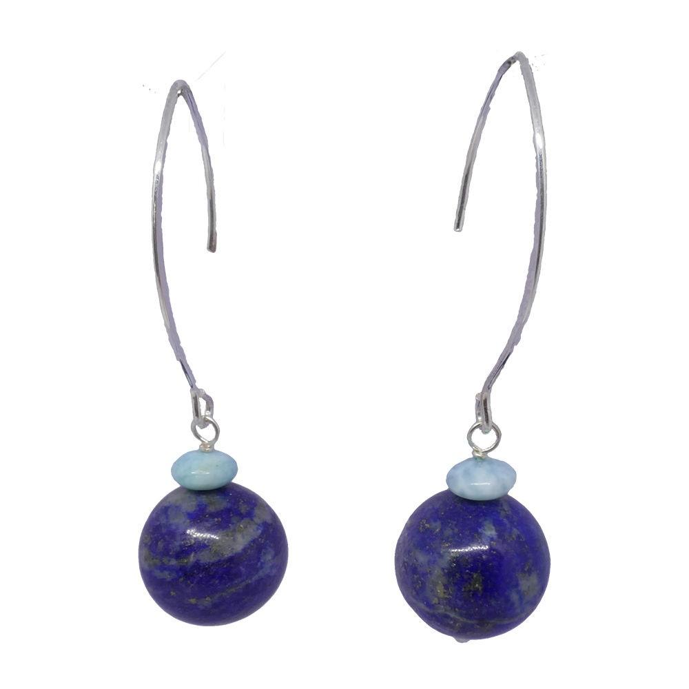 Lima Boucles d'oreilles longues larimar et lapis lazuli
