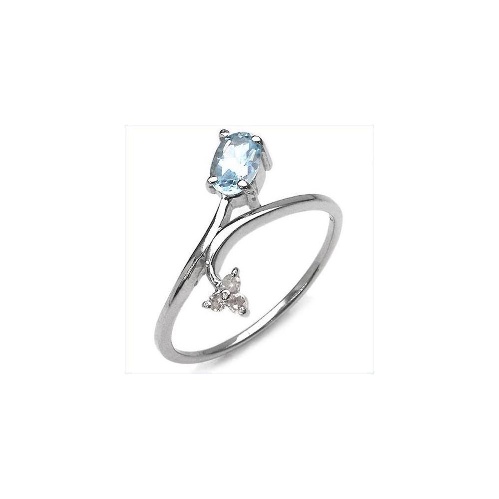 Bague Riviera topaze bleue et diamants. Argent massif rhodié
