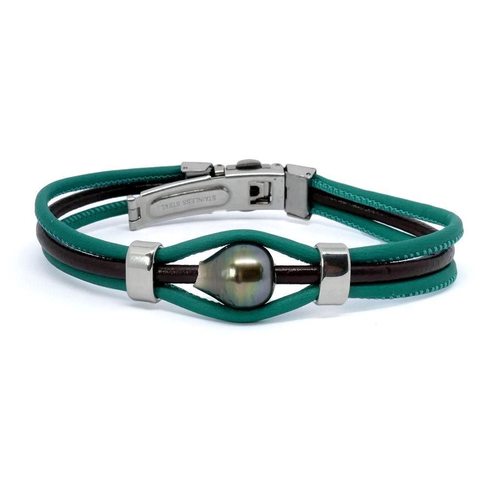 EYELITE Bracelet perle de Tahiti cuir couleur