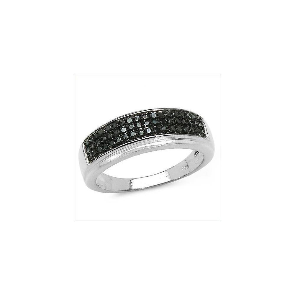 Bague Marylin diamants noirs Argent massif rhodié