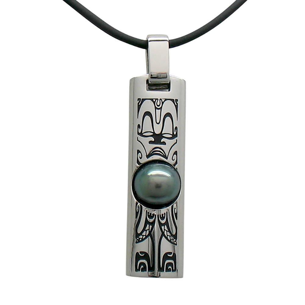 Collier TIKI tahitien pour Homme avec perle de Tahiti.