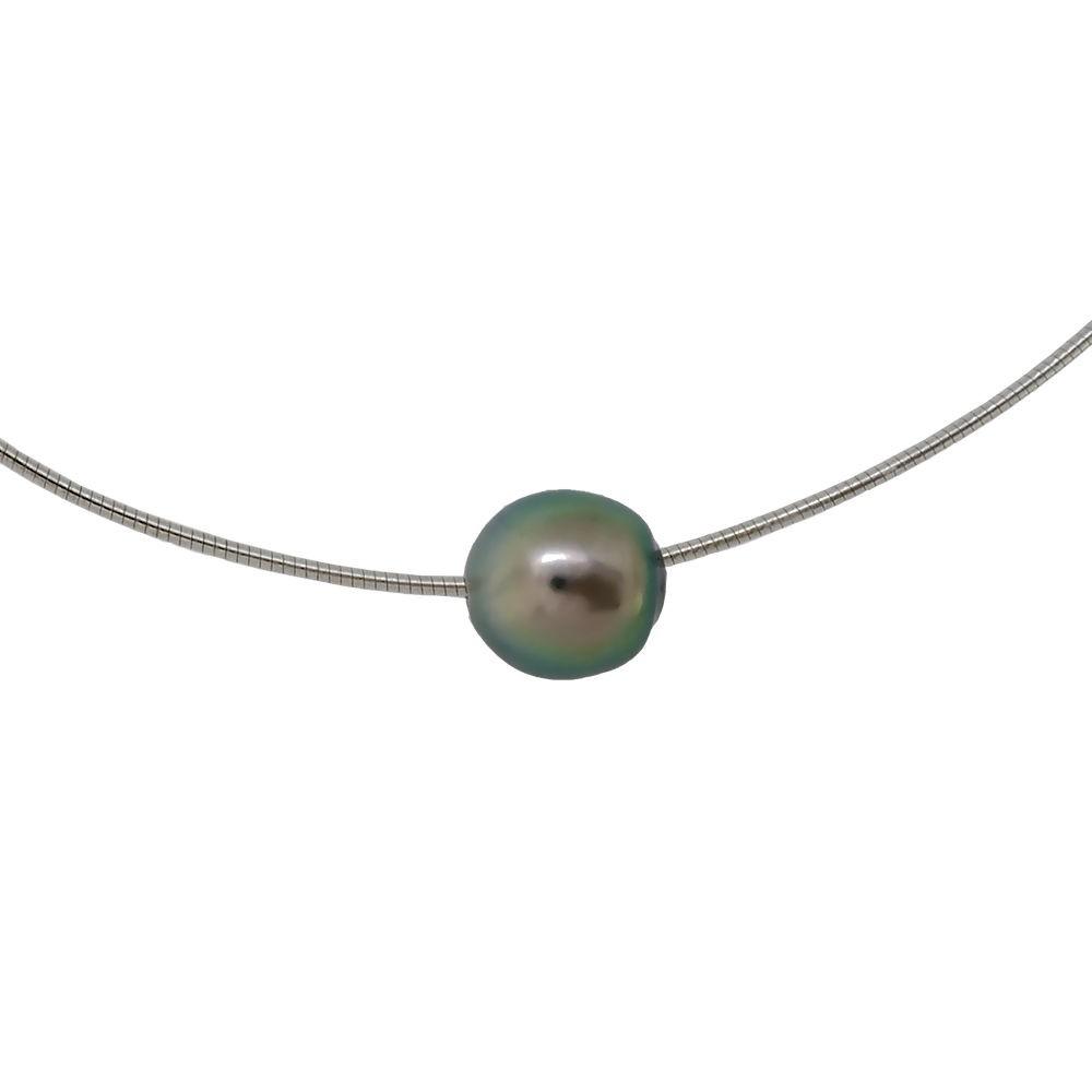 Bora Bora Collier omega Perle de Tahiti. Maille oméga en Argent 925