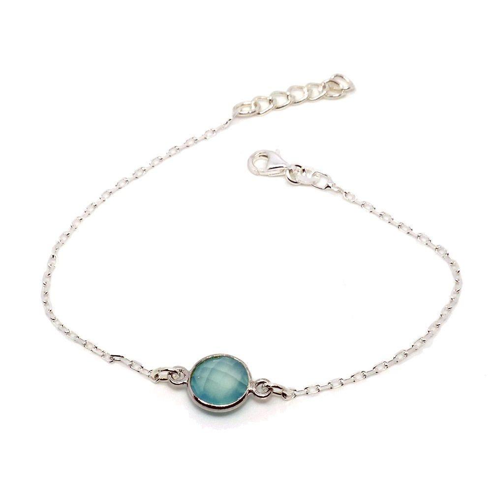 Moon Bracelet agate bleue. Argent massif