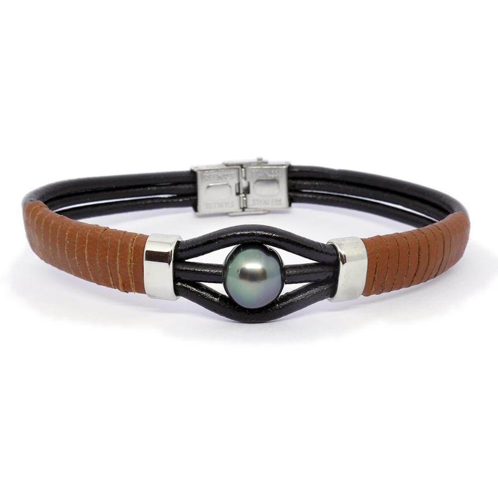 Eyelove : Bracelet cuir homme et Perle de Tahiti