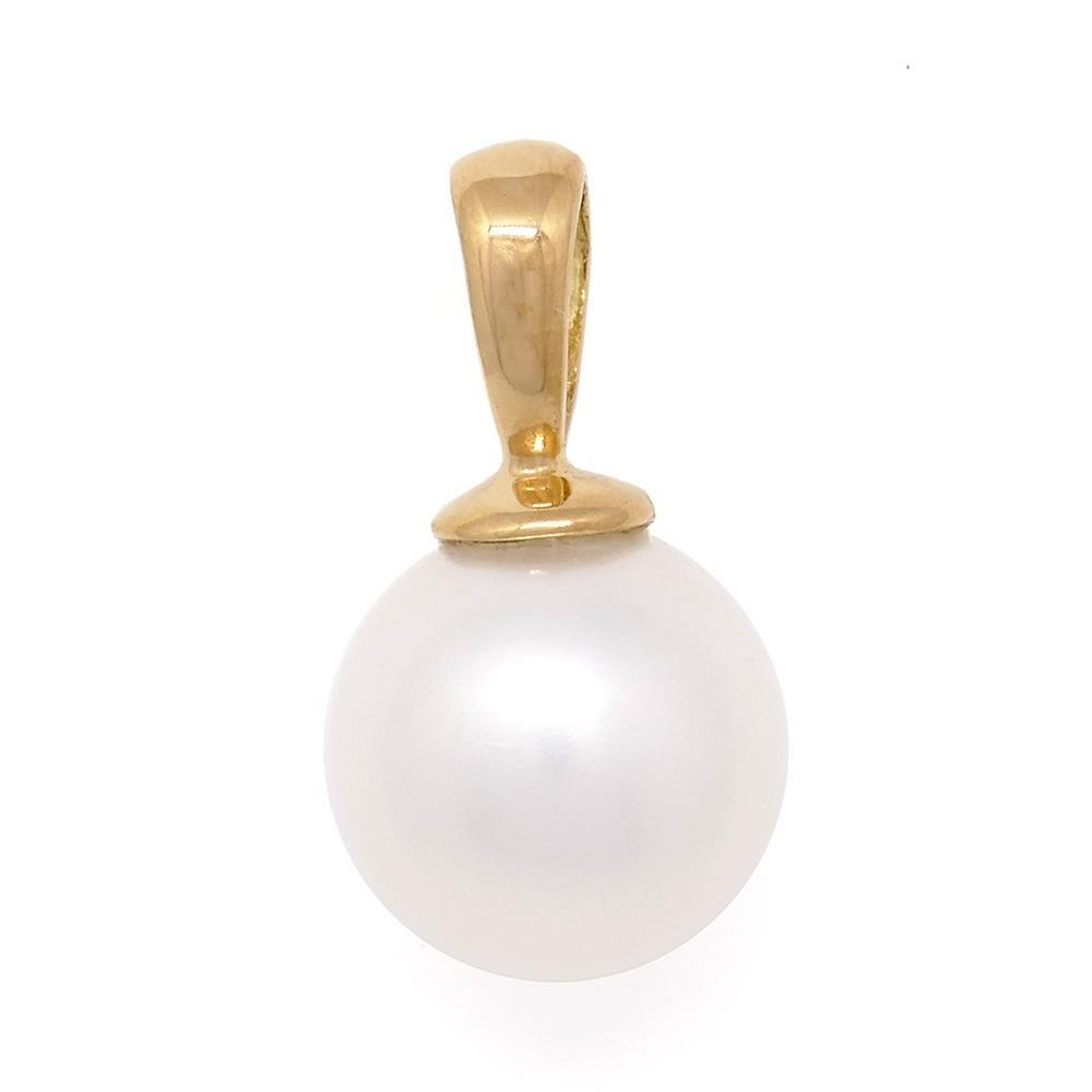 Cléa: pendentif  perle de culture d'eau douce ronde blanche. Or 750