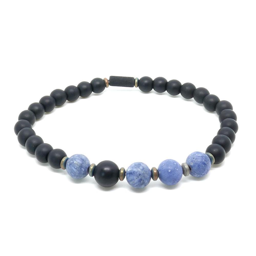 ETHAN Bracelet Homme en corail bleu