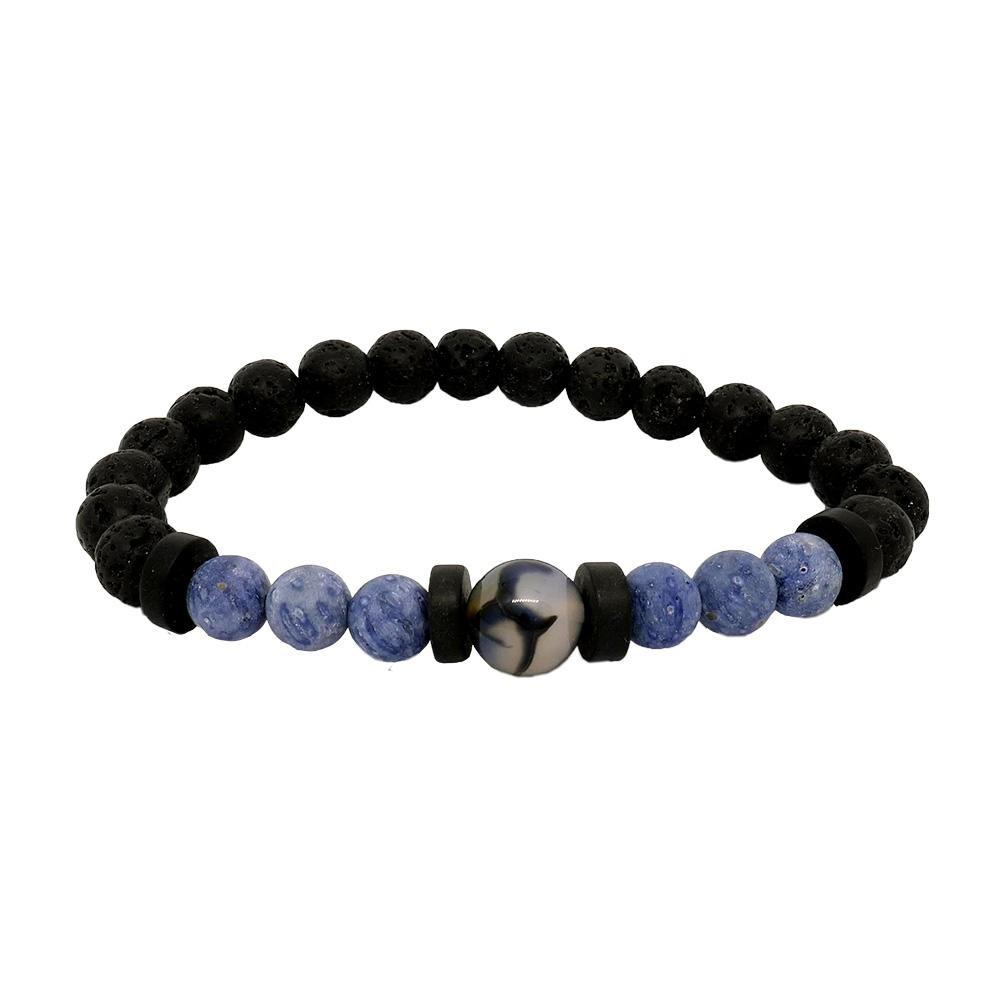 OSKAR Bracelet Homme en corail bleu et Agate