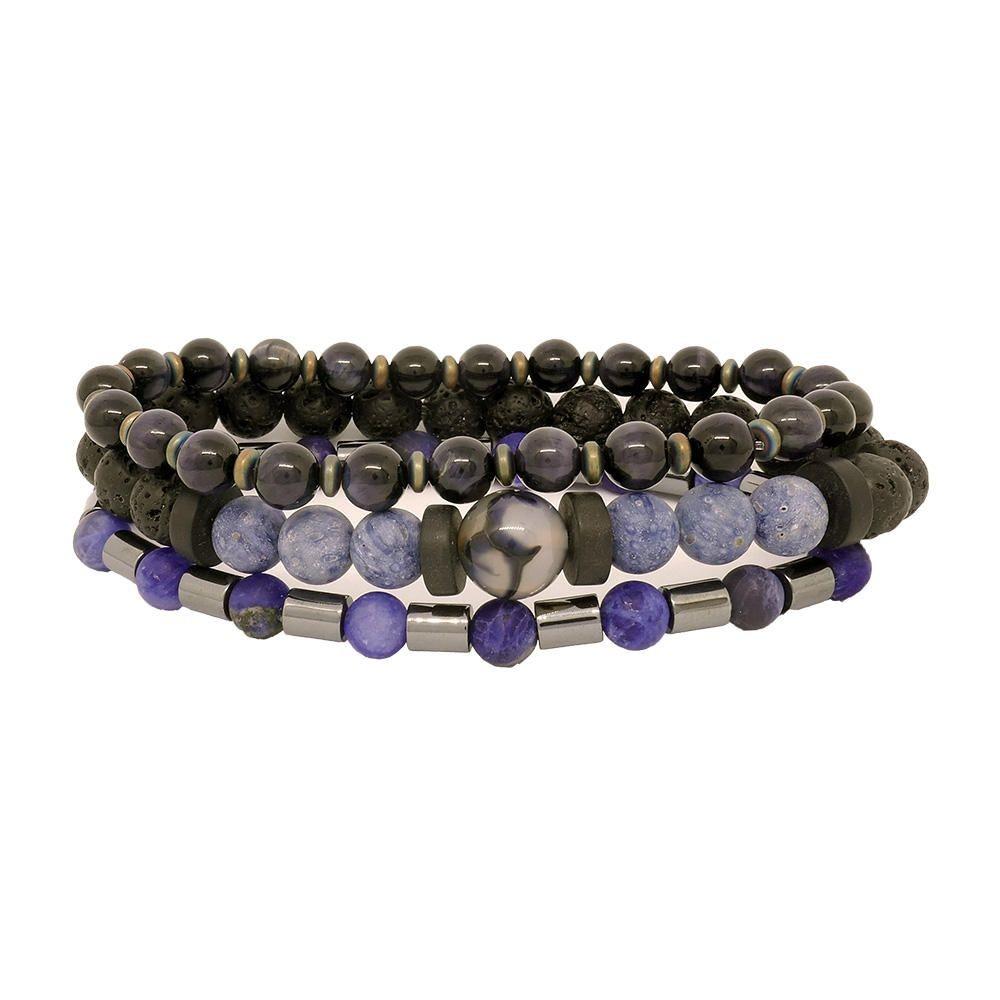 Bracelets bleus en harmonie Taille 17cm
