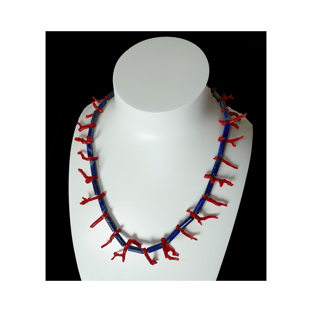 Giglio, collier en corail rouge et lapis lazuli