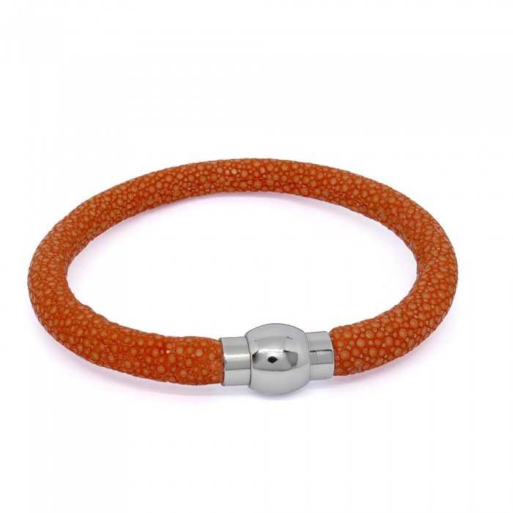 Bracelet  RAY DECO en galuchat orange spessartite