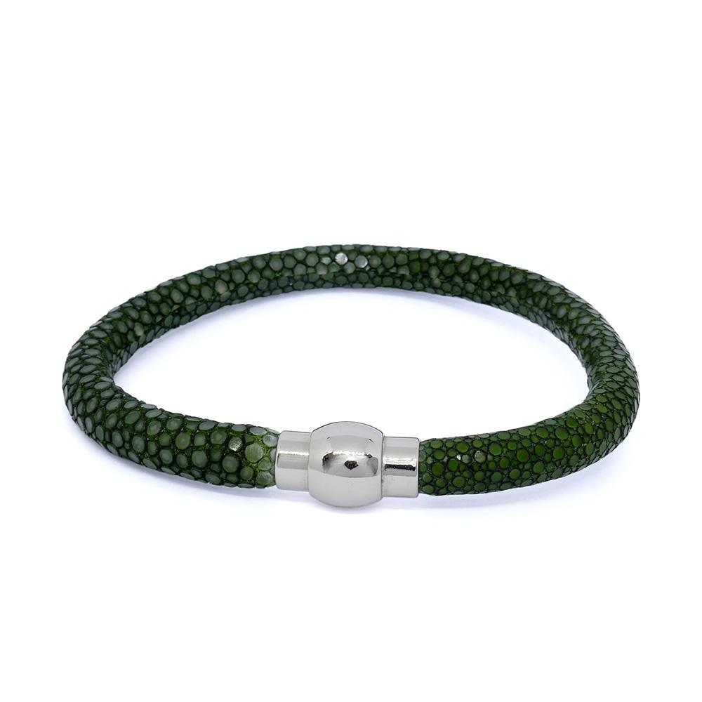 Bracelet  RAY DECO en galuchat vert tourmaline