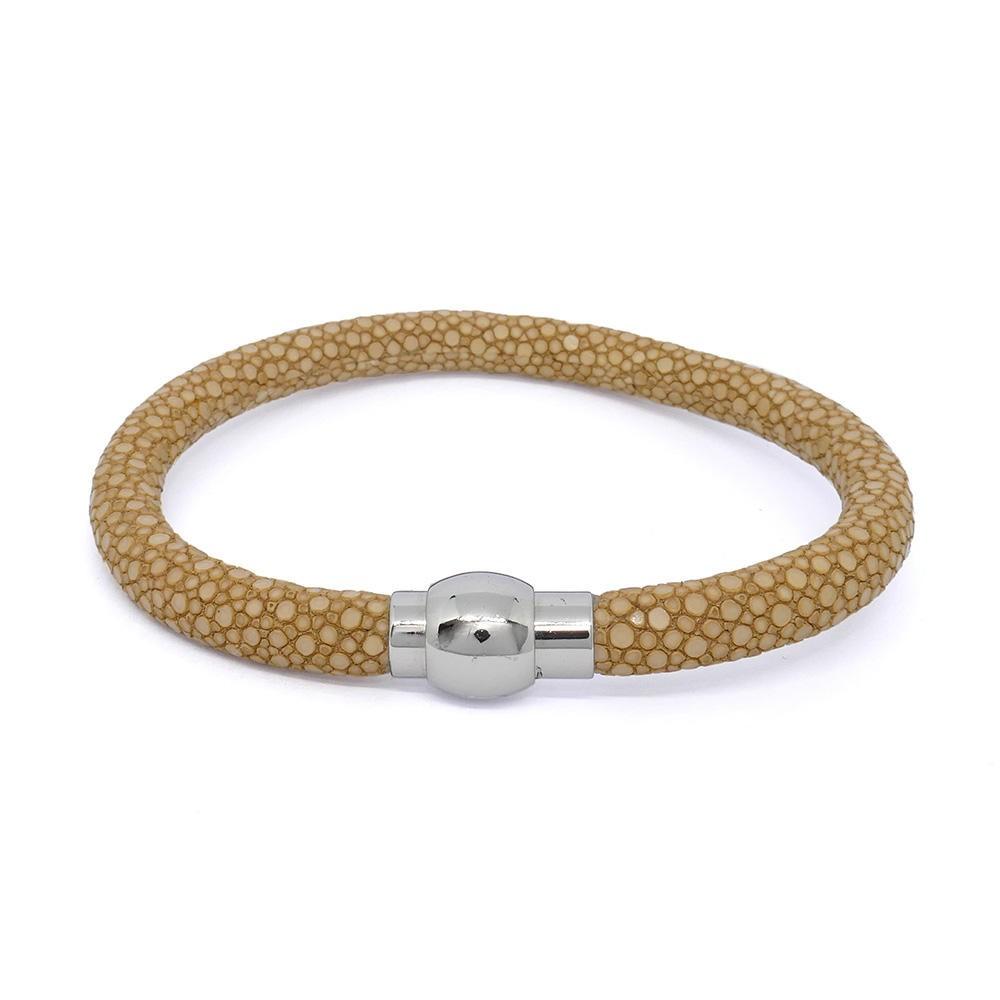 Bracelet  RAY DECO en galuchat beige