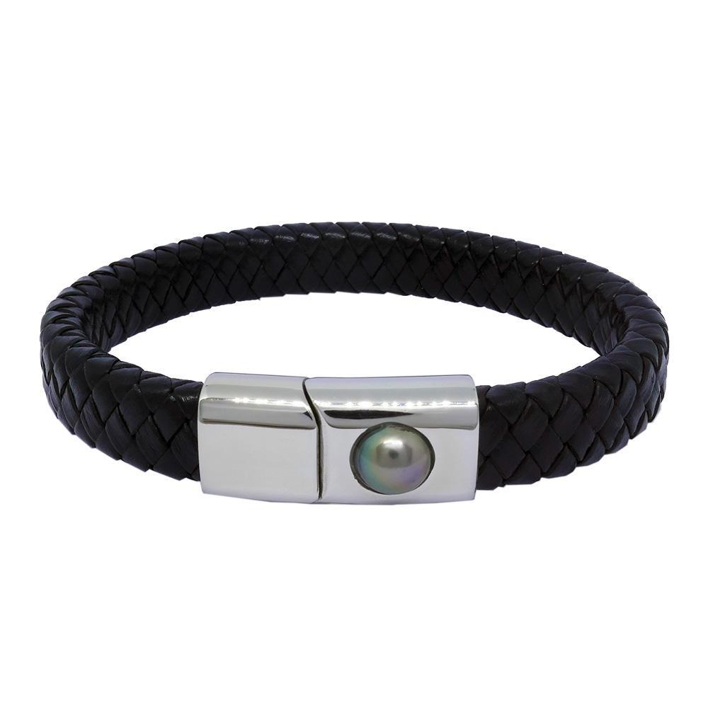 Hadrien Bracelet Homme cuir et perle de Tahiti couleur noire