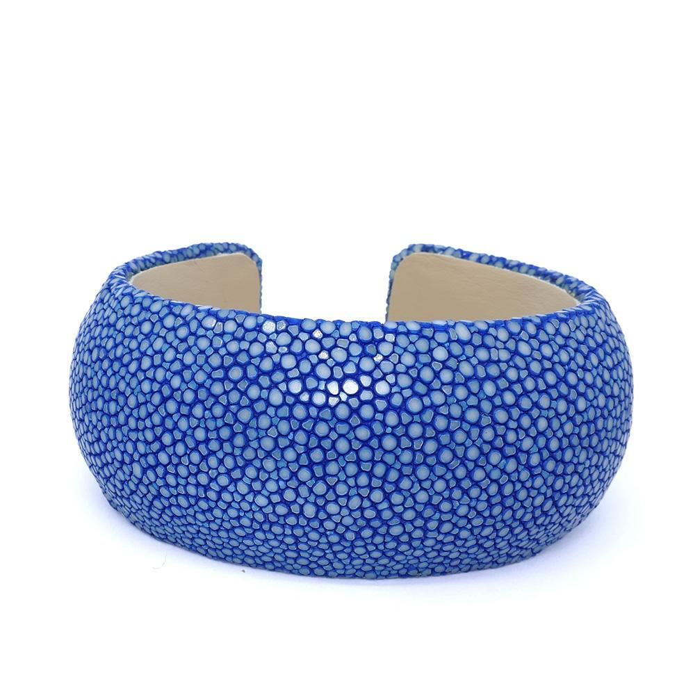 Bracelet galuchat manchette bleu