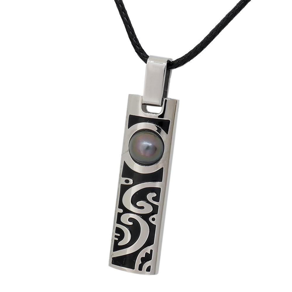 Collier Tiki pour homme avec perle de Tahiti. Motif MOANA perle grise