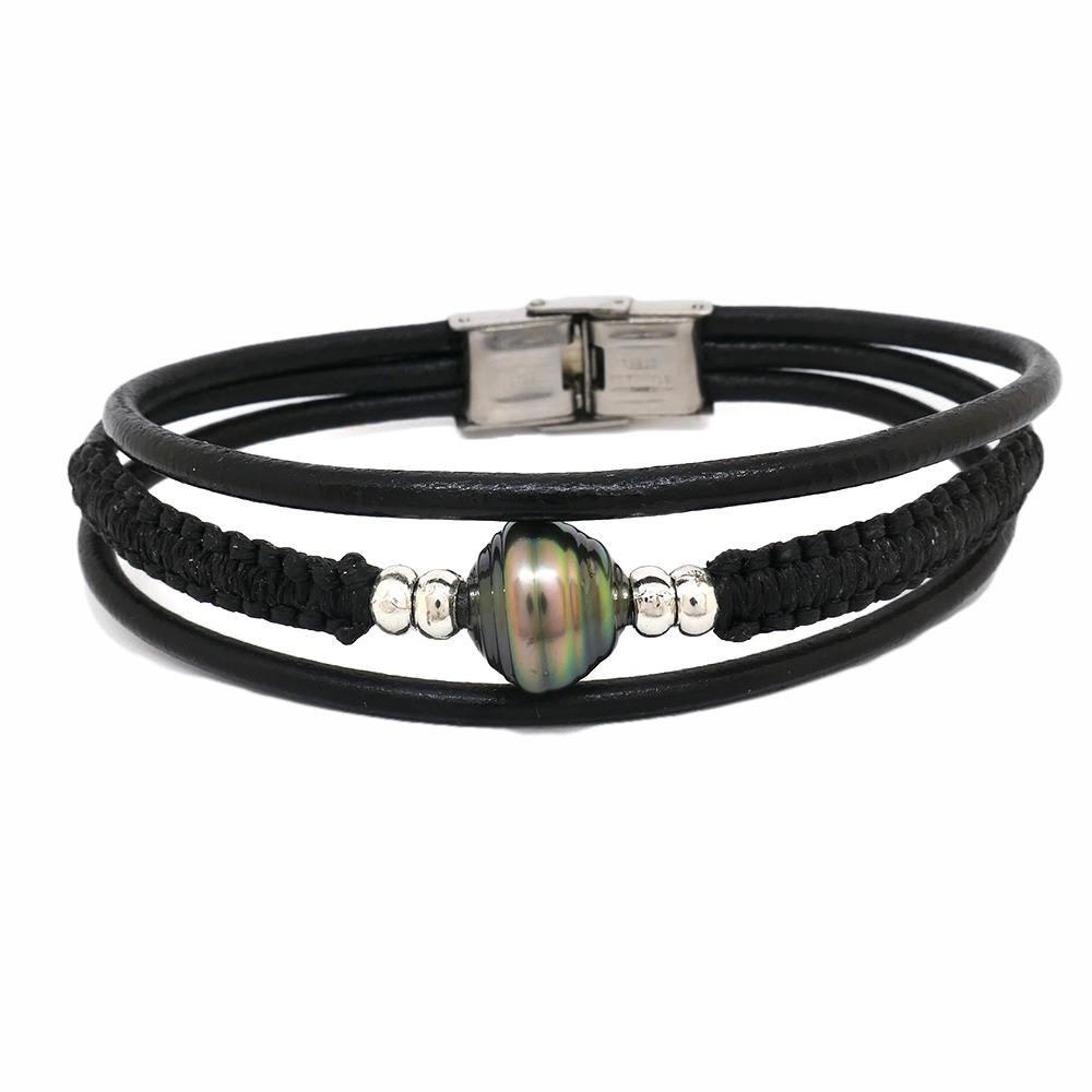 Bracelet pour homme avec une perle de Tahiti vert