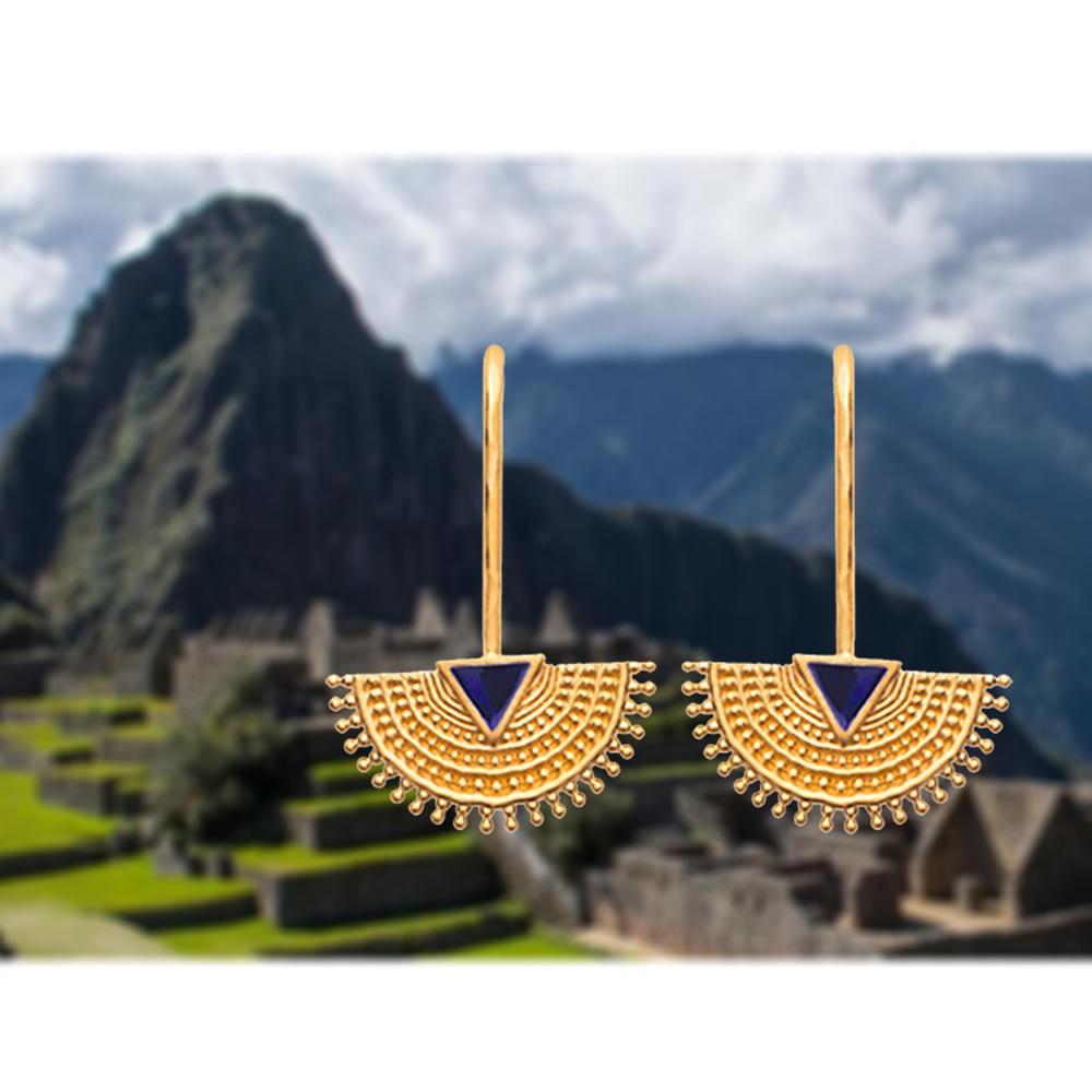 Boucles d'oreilles Inca en plaqué or inspiration machu picchu