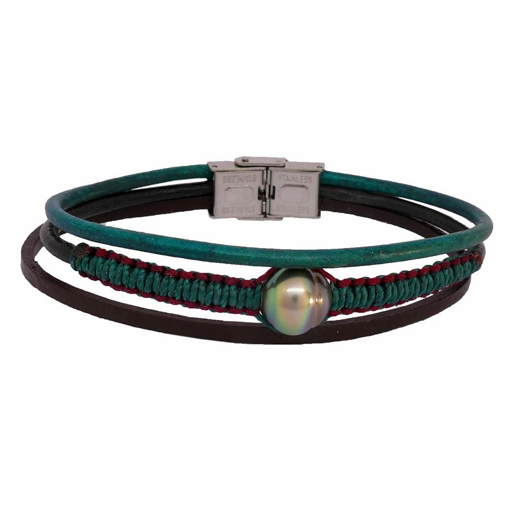 EYELAN Bracelet  pour homme perle de Tahiti verte irisée. Cuir vert émeraude