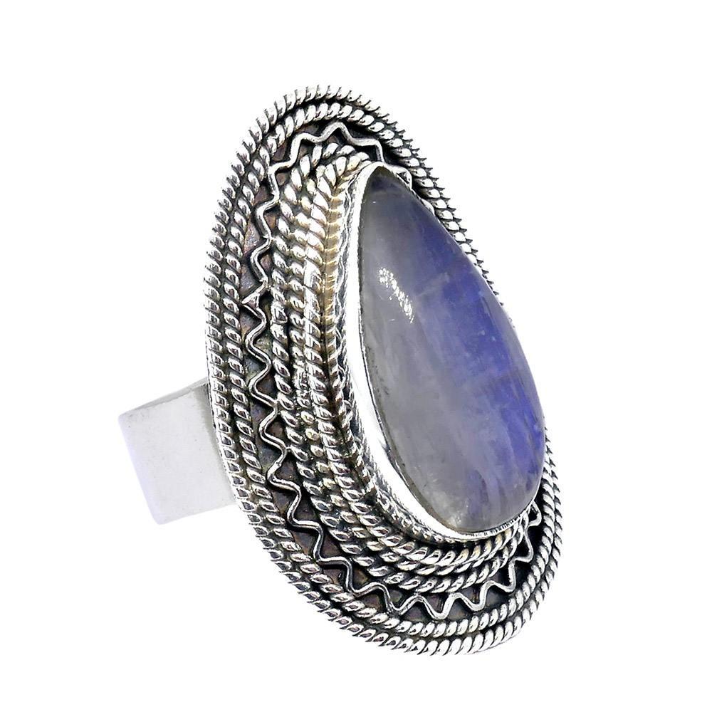 Manali  grosse bague pierre de lune bleue. Argent 925