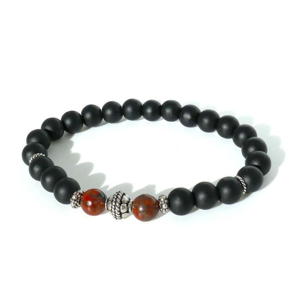 ROBIN Bracelet  Homme  Jaspe rouge,onyx mat et Argent 925
