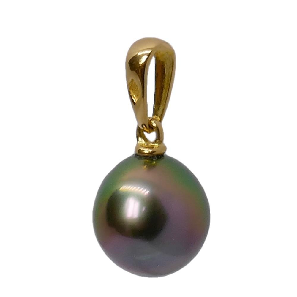 Clochette Pendentif Perle Tahiti plume de paon. Or jaune750 Vue de dos