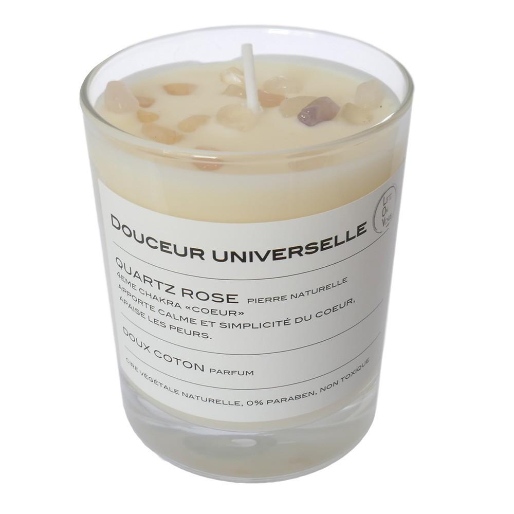 Bougie Quartz rose parfum Doux coton de coton