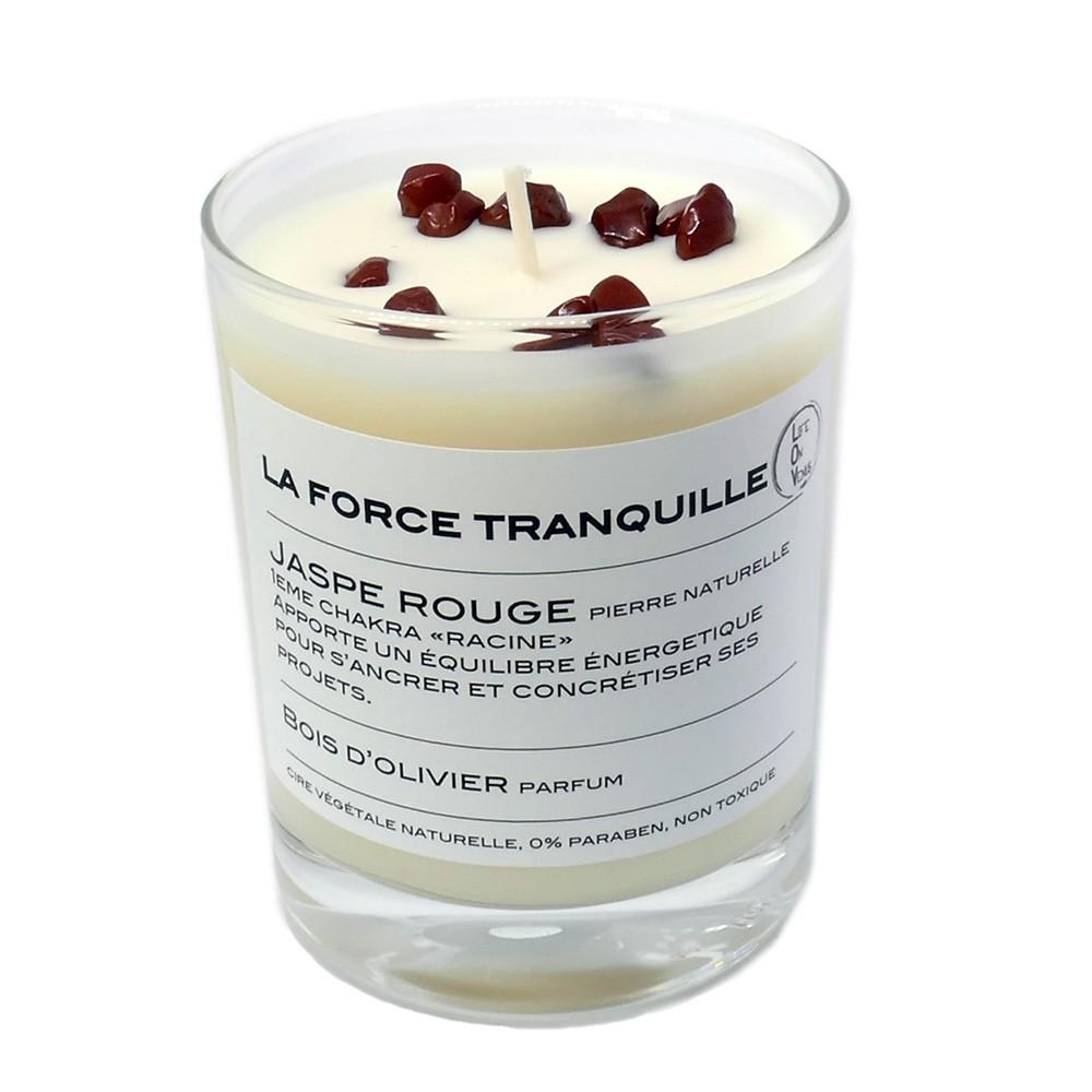 Bougie Jaspe rouge parfum Bois d'olivier