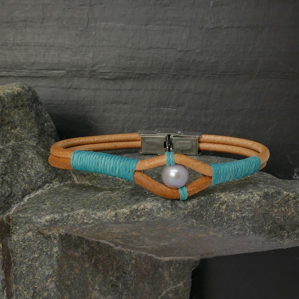 Kingman Bracelet en cuir naturel et perle de culture gris clair