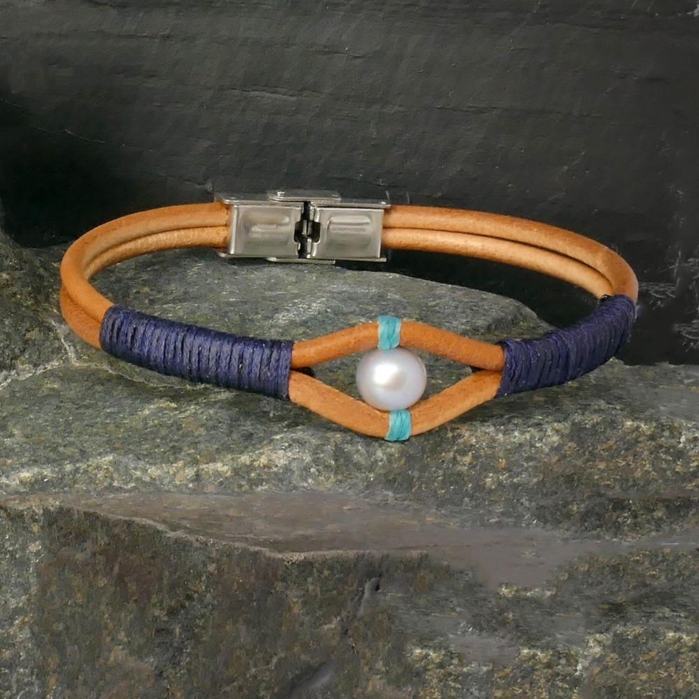 Bracelet Tuscson en cuir naturel et perle grise